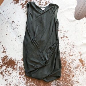 Helmut Lang dark green sleeveless draped dress
